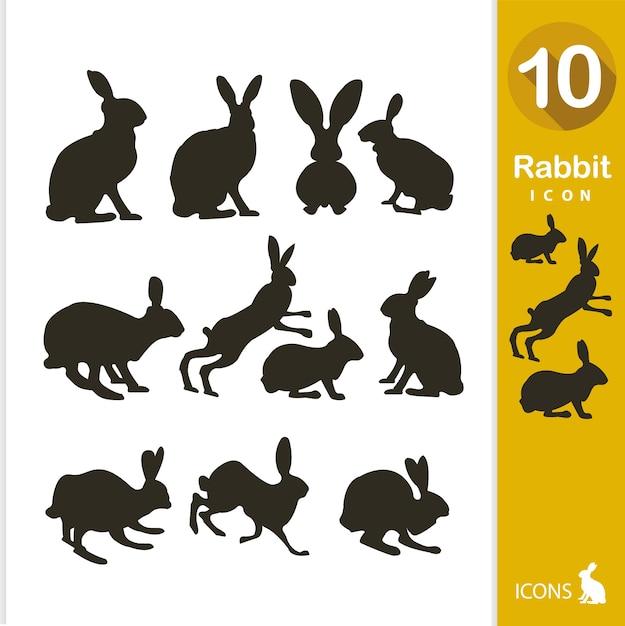 Kaninchen silhouette sammlung Kostenlosen Vektoren