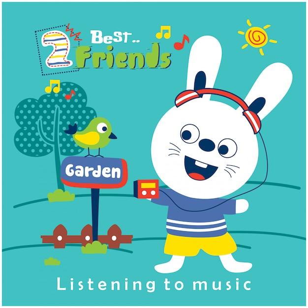Kaninchen und freund, die musik in der lustigen tierkarikatur des gartens hören Premium Vektoren