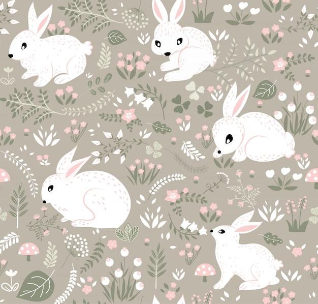 Kaninchen und waldmuster Premium Vektoren