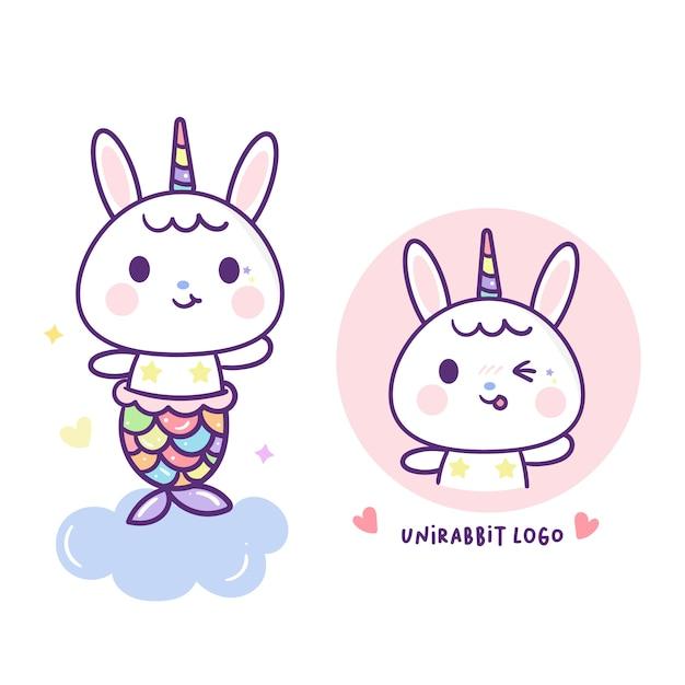 Kaninchenmeerjungfrau im netten einhornvektor Premium Vektoren