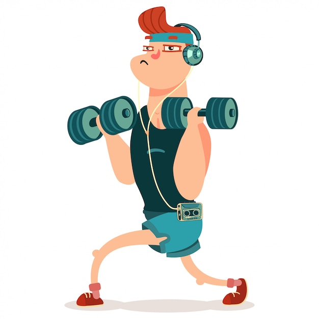 Kann fitness-übungen mit hanteln machen. nette zeichentrickfilm-figur getrennt auf einem weiß. Premium Vektoren