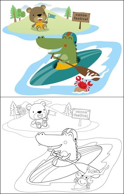 Kanufahren mit lustigen krokodilen und freunden Premium Vektoren