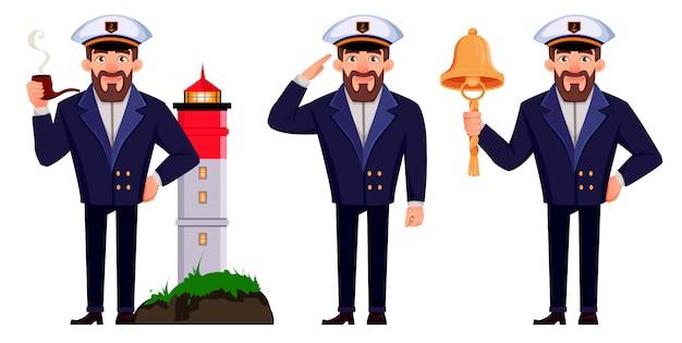 Kapitän des schiffes in berufsuniform Premium Vektoren
