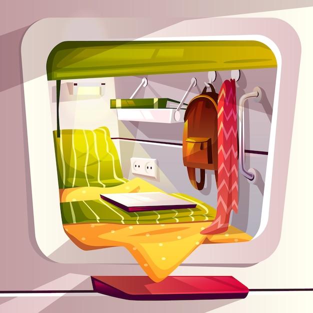 Kapselhotel- oder -hülsenhostelleillustration. moderner karikaturreisender-rauminnenraum mit bett Kostenlosen Vektoren
