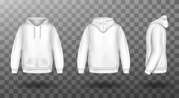 Kapuzenpulli, weißes sweatshirt-modell vorne und hinten Kostenlosen Vektoren