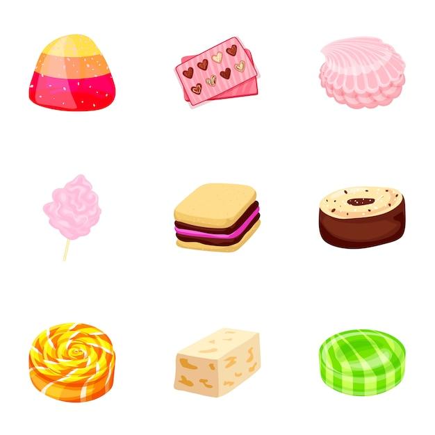 Karamell-süßigkeiten-icon-set. karikatursatz karamellsüßigkeitsikonen Premium Vektoren