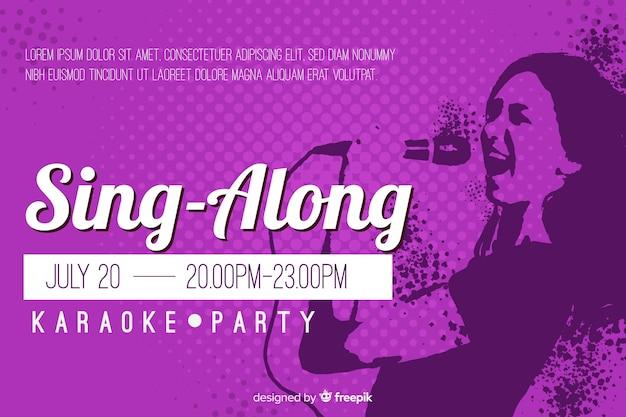 Karaoke banner vorlage flachen stil Kostenlosen Vektoren
