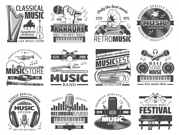 Karaoke-bar, musikclub und dj-aufnahmestudio Premium Vektoren