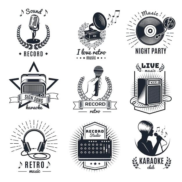 Karaoke elements monochrome vintage embleme Kostenlosen Vektoren