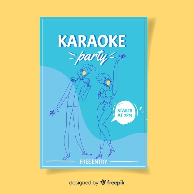 Karaoke night party poster oder flyer vorlage Kostenlosen Vektoren