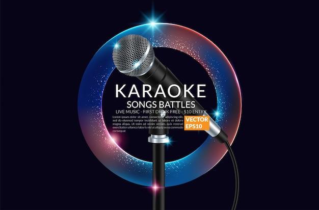 Karaoke-party-banner mit mikrofon. Premium Vektoren