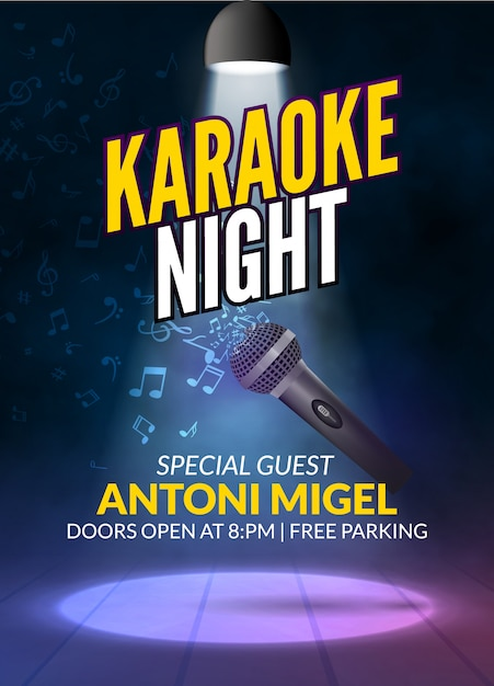Karaoke party einladung poster design vorlage. karaoke nachtflieger design. musikstimme konzert Premium Vektoren