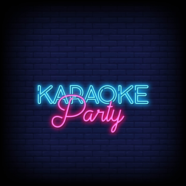 Karaoke party neon signs style text Premium Vektoren