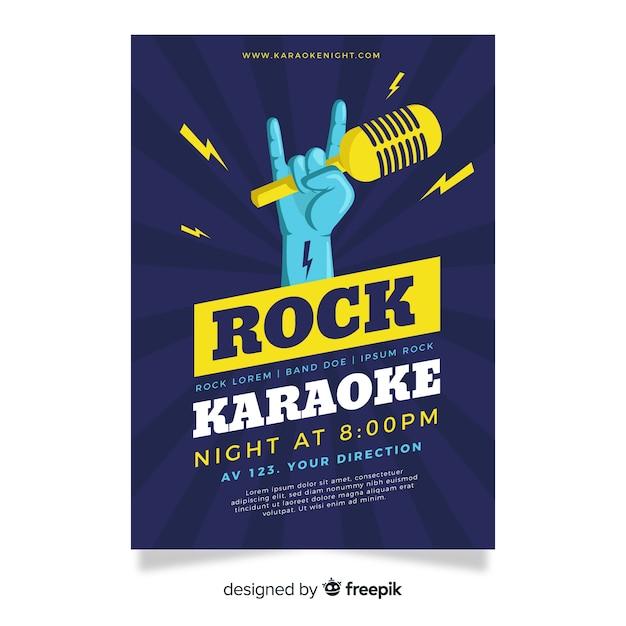 Karaoke party plakat vorlage im flachen stil Kostenlosen Vektoren