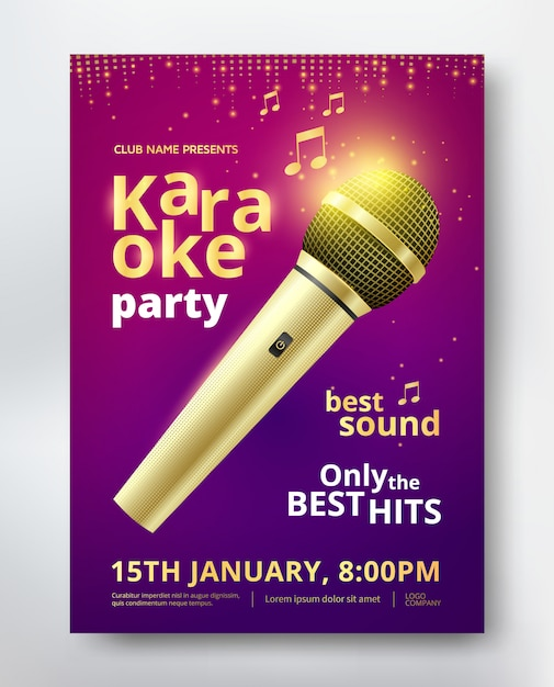 Karaoke party poster template design mit goldenen mikrofon Premium Vektoren