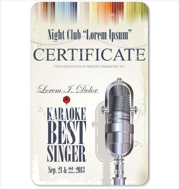Karaoke-zertifikat Premium Vektoren