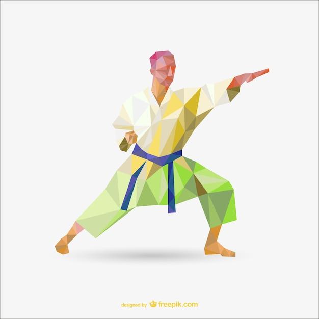 Karate polygon vektor-zeichen Premium Vektoren