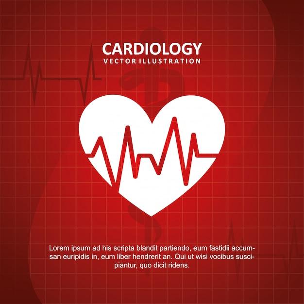 Kardiologiedesign über blauer hintergrundvektorillustration Premium Vektoren