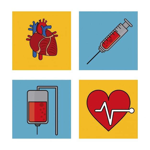 Kardiovaskuläres system und blutspende und herz puls-symbol Premium Vektoren