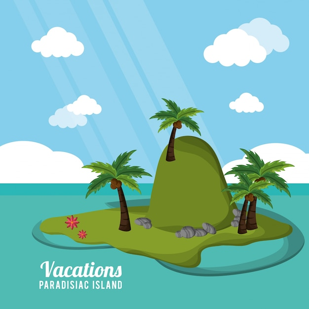 Karibische tropische ferienparadiesinsel Premium Vektoren