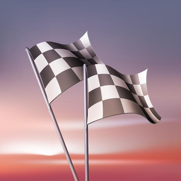 Karierte flaggen für fans und wettbewerbe Kostenlosen Vektoren