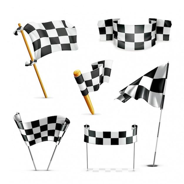Karierte flaggen gesetzt Premium Vektoren