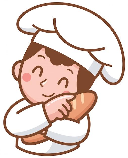 Karikatur-bäcker, der lebensmittel darstellt Premium Vektoren