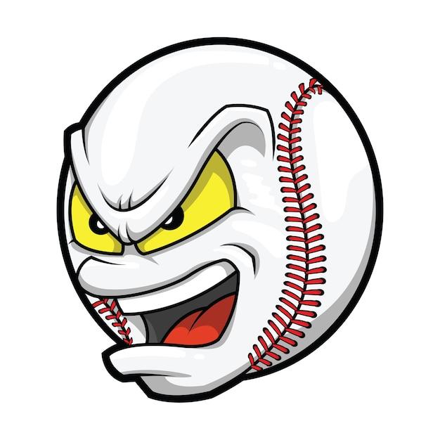 Karikatur-baseball-verärgertes gesicht Premium Vektoren