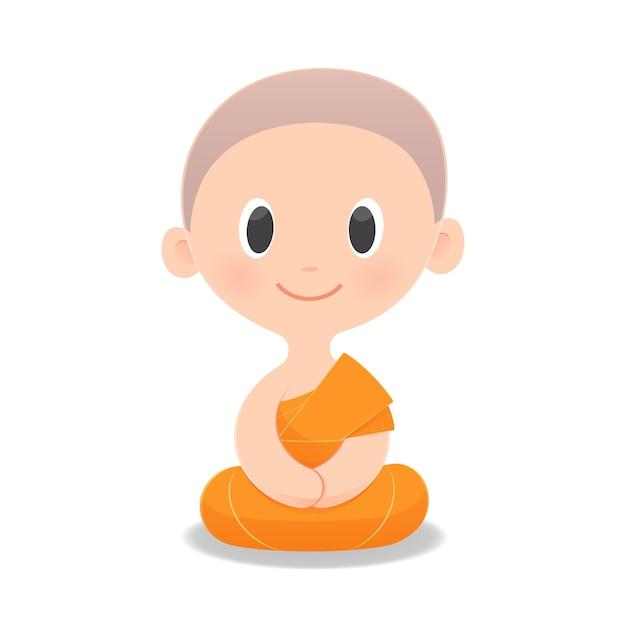 Karikatur-buddhistischer mönch von südostasien. Premium Vektoren