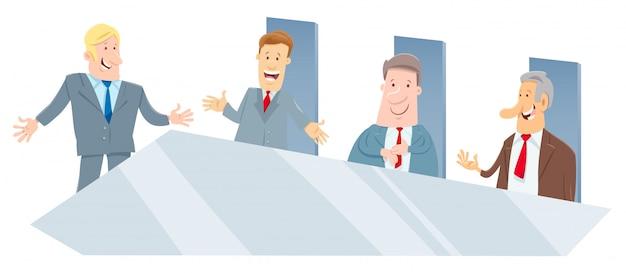 Karikatur der direktoren oder unternehmer treffen Premium Vektoren