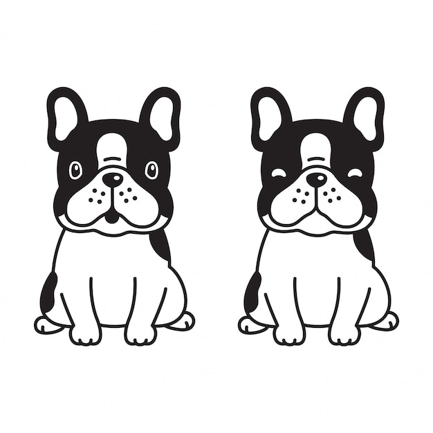 Karikatur der französischen bulldogge des hundetatzenvektors Premium Vektoren