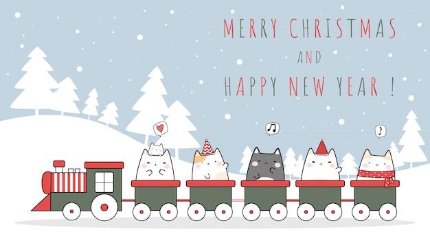 Karikatur der frohen weihnachten und des guten rutsch ins neue jahr der netten katzenkätzchenreitzugfeier kritzeln karte Premium Vektoren