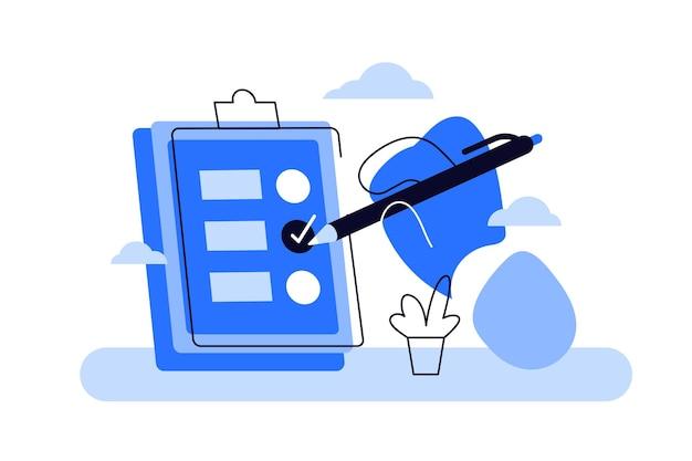 Karikatur der hand, die zwischenablage mit checkliste und bleistift hält. Premium Vektoren