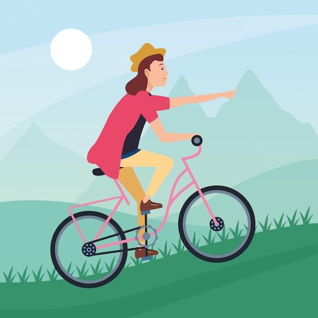 Karikatur der sportlichen tätigkeit des sports im freien Premium Vektoren
