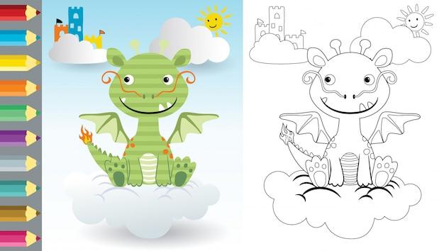 Karikatur des drachen, der auf wolke, malbuch oder seite sitzt Premium Vektoren
