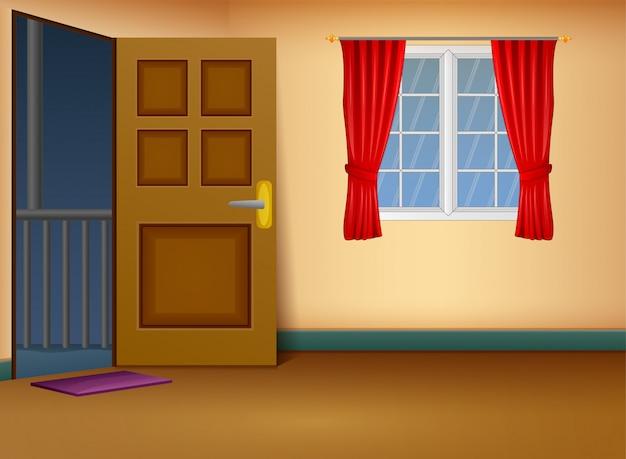 Karikatur des hauseingangs-wohnzimmerdesigns Premium Vektoren