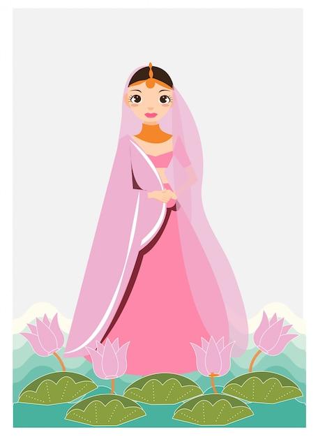 Karikatur des indischen mädchens im trachtenkleid verzieren mit lotos und blatt Premium Vektoren