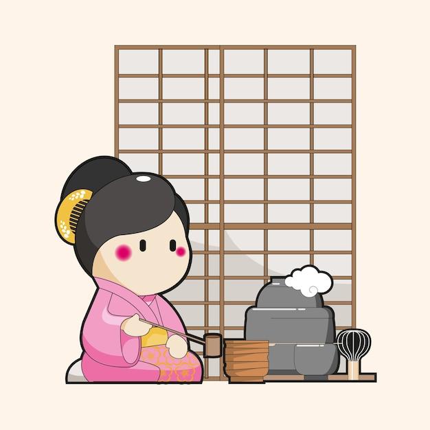 Karikatur des japanischen charakters, die traditionellen tee dient Premium Vektoren