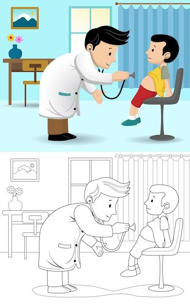 Karikatur des kinderarztes, der jungen bei einem besuch untersucht Premium Vektoren