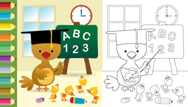 Karikatur des lustigen huhns mit entenjungen im klassenzimmer Premium Vektoren