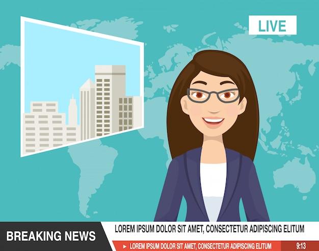 Karikatur des schönen reporters sind bereit kündigen die nachrichten an Premium Vektoren