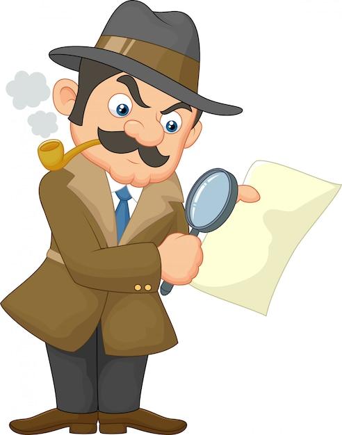 Karikatur-Detektivmann Premium Vektoren