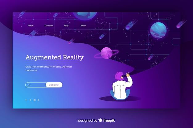Karikatur, die auf eine galaxie in der virtuellen realität zeigt Kostenlosen Vektoren