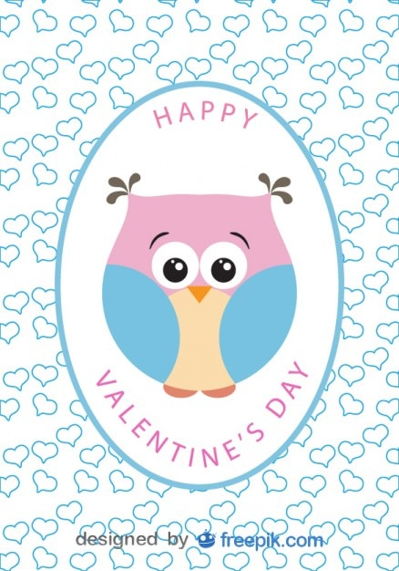 Karikatur Eule Vektor Valentinstag Karte Kostenlose Vektoren