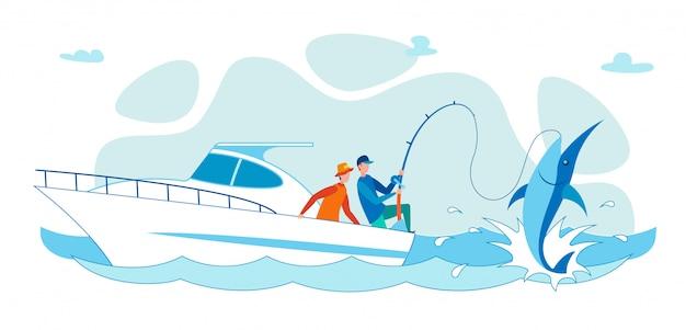 Karikatur-flache leute, die auf haifisch vom boot fischen. Premium Vektoren
