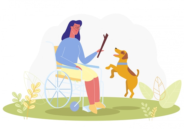 Karikatur-frau im rollstuhl-spiel mit service-hund Premium Vektoren
