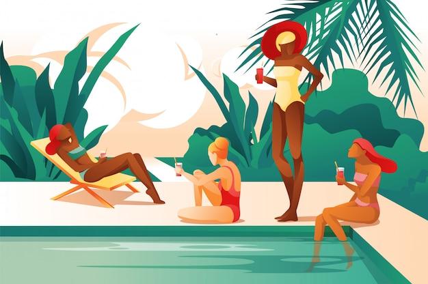 Karikatur-frauen nähern sich dem ein sonnenbad nehmenden pool-getränk coctail Premium Vektoren
