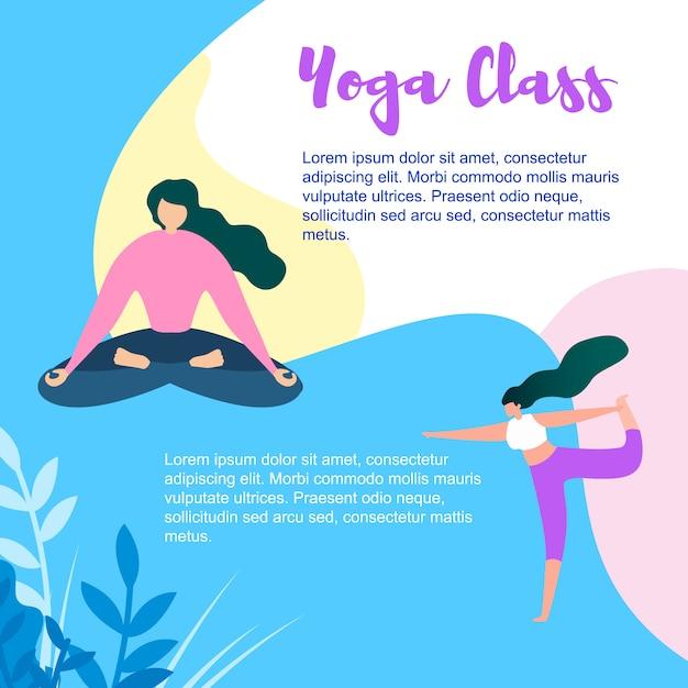 Karikatur-frauen-übung und meditieren in der yoga-klasse Premium Vektoren