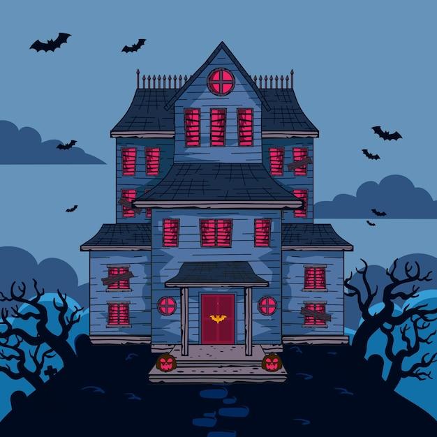 Karikatur halloween haus Kostenlosen Vektoren