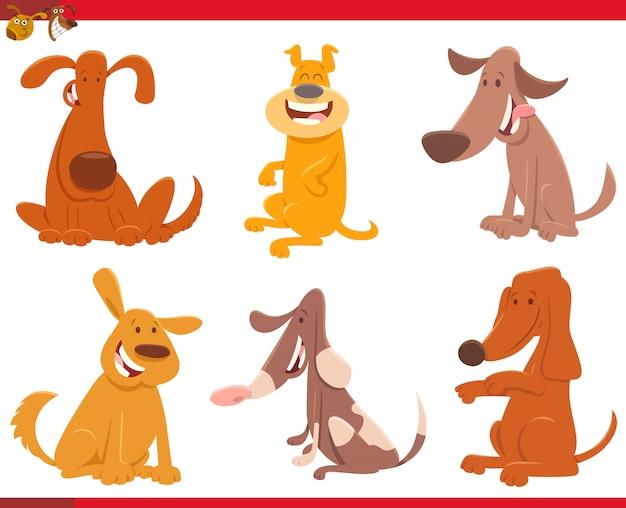 Karikatur-illustration der hunde- oder welpen-sammlung Premium Vektoren